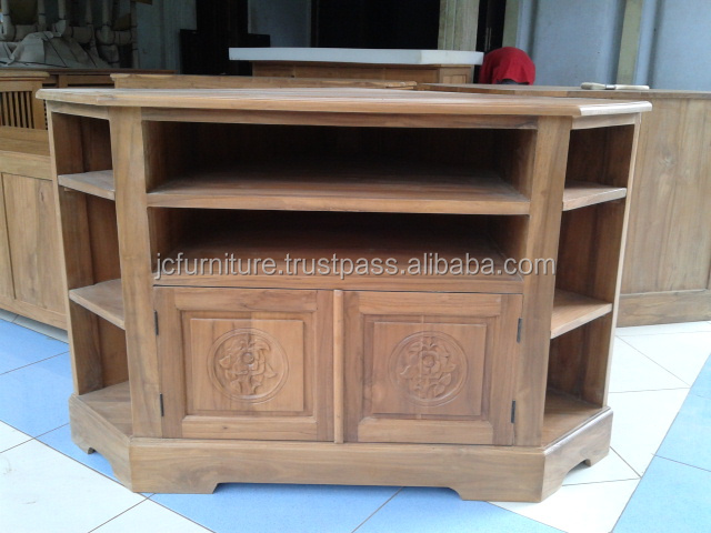 Meubles en bois teck coin tv stand conception buy for Meuble tv coin