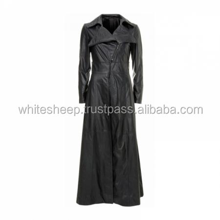 1b875f2e6a43 Pleine longueur dames en cuir long manteau en cuir long manteau pour les  femmes