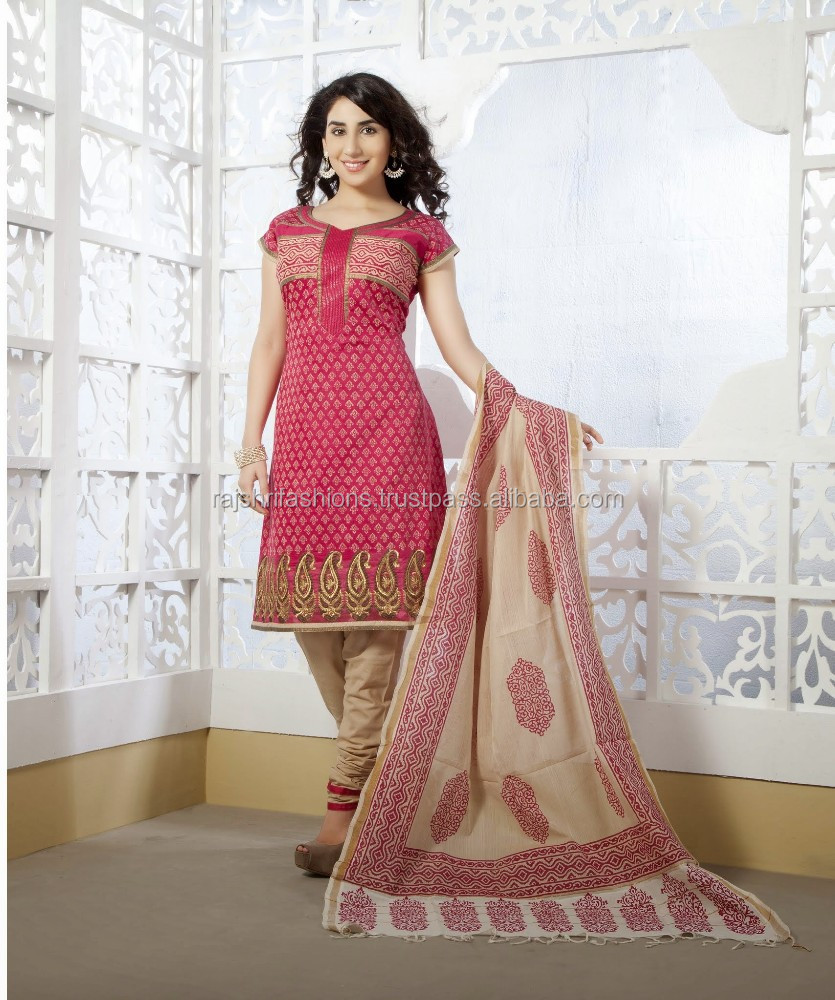 Beautiful Color Cotton Silk Designer Unstitch Salwar Kameez - Buy ...