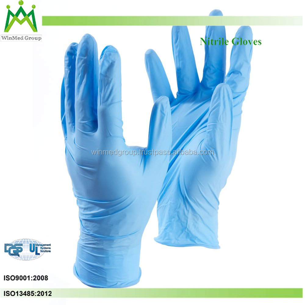 Disposable gloves Easy-to-don beaded cuffs Nitrile/ synthetic powder free medical nitrile examination gloves