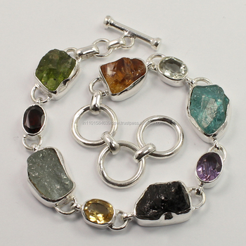 LOVELY Natural AMETHYST,GARNET,CITRINE,PERIDOT,OTHER MULTI STONES 925 Sterling Silver Gemstones Bracelet Exporter