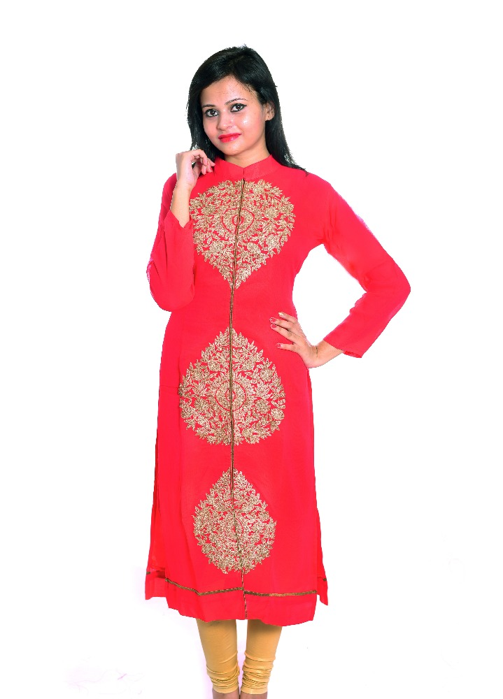 Tatka Elegant Georgette Embroided Red Kurti