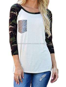 f9f1bb67 Women Girl Ladies T-Shirt Slim Camo Raglan Sleeve Pocket Pullover Shirt  Blouse Top T