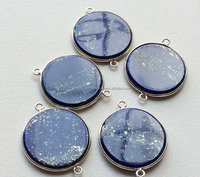Lapis Lazuli Smooth Plain Round Shape Gemstone Connectors Double Loop Matched Pairs Silver