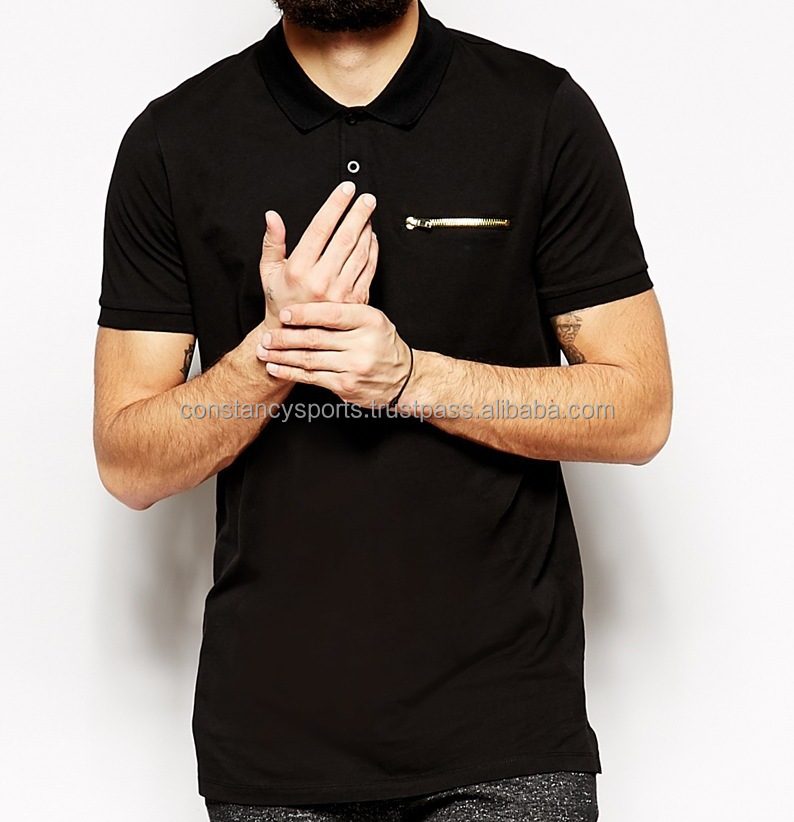 Zipper pocket longline polo shirt zip pocket longline t for Longer length mens polo shirts