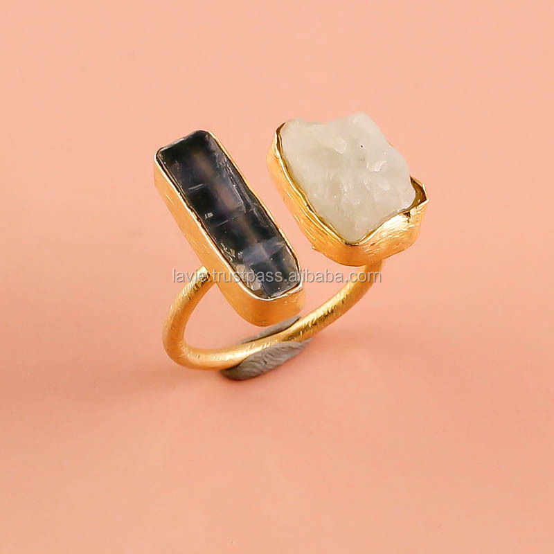925 Solid Sterling Silver Ring,Natural Citrine Aquamarine Raw ...