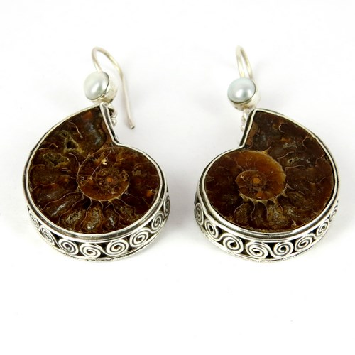 Fossil Earring_925 !! Unique Fossil Pearl Silver Jewelry, Solid Silver Earring Wholesale