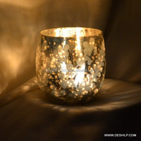 Stained Glass Silver Votive Tealight Candle Holder