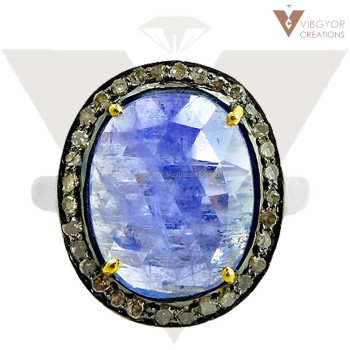 wholesale tanzanite gemstone 14k gold pave