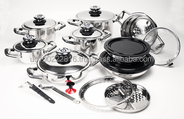 21 Piece Professional Platinum Stainless Steel Waterless Cookware
