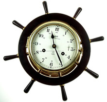 NAUTICAL SHIP WHEEL WALL CLOCK - WOODEN WALL CLOCK 2037