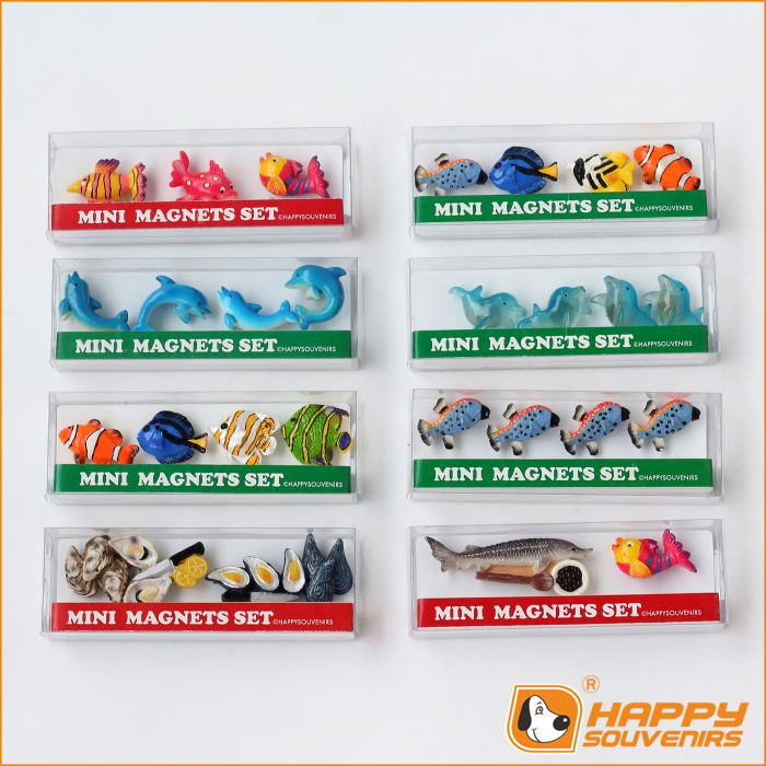 Factory supply custom 3D mini fridge magnet animal shaped design miniature dinosaur figure set