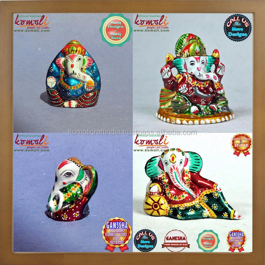 Meenakari Metal Ganesh Statue Colourful Hand Painted Ganesha Wedding Favor