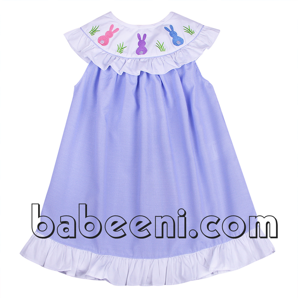 Cute bunny applique bishop baby girl dress