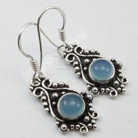 AQUA CHALCEDONY Gemstone Indian Hook Earrings