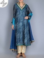 Beautiful! New design Blue Indian Leheriya Gotta Patti Embellished Kurta