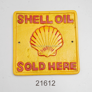 CAST ALUMINIUM SHELL OIL SOLD HERE WALL SIGN/ WALL DECORATION