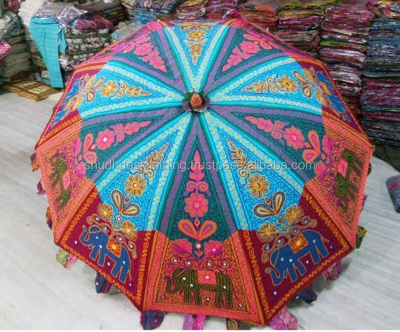 Indian Handmade Patchwork Embroidered Multicolour Decorative Outdoor Garden Lawn Umbrella - Manufacturer & Exporter