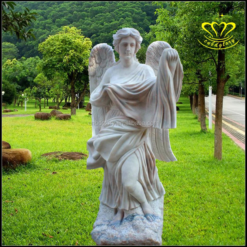 Outdoor Garden Home Decor China Suppliers Graceful Nude Winged Maiden Angell Statues White Marble Sculpture