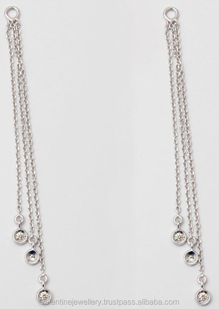 Multiple Hanging Stylish White Gold Chain Earrings Plain 22k Earring Product On Alibaba