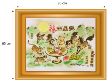 Gordon Arts traditional customized artwork, Chinese Zodiac animals painting, 60cm X 90cm