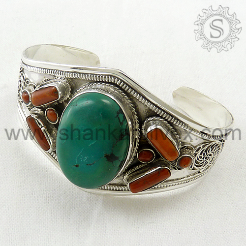 Custom Engraved Coral Turquoise Bangle Jewelry Real 925 Sterling Silver Jewelry Wholesaler