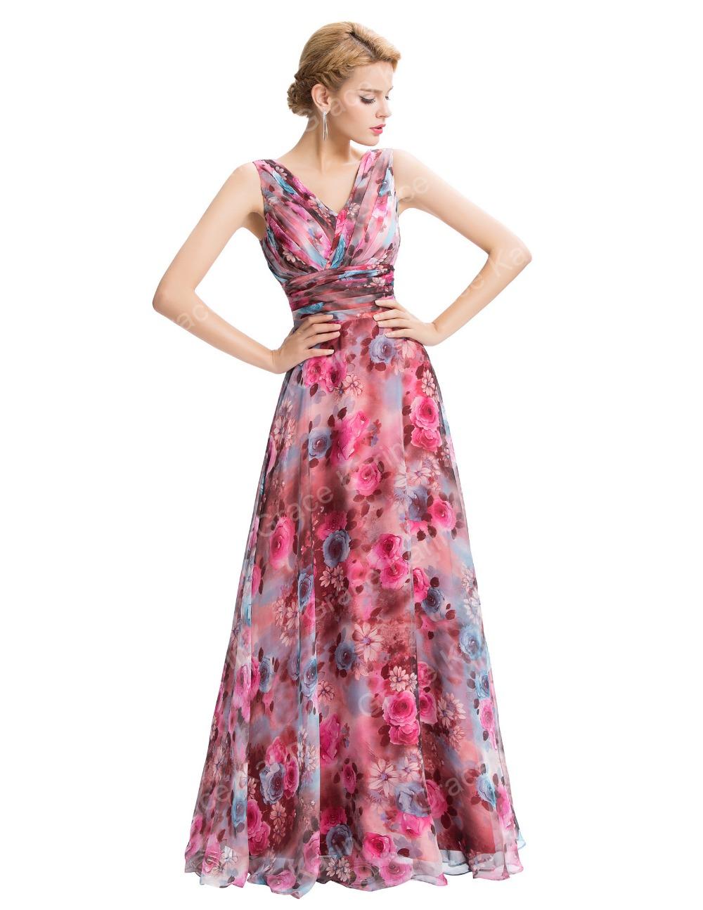 Grace Karin New Sleeveless V-neck Floral Pattern Chiffon Long ...