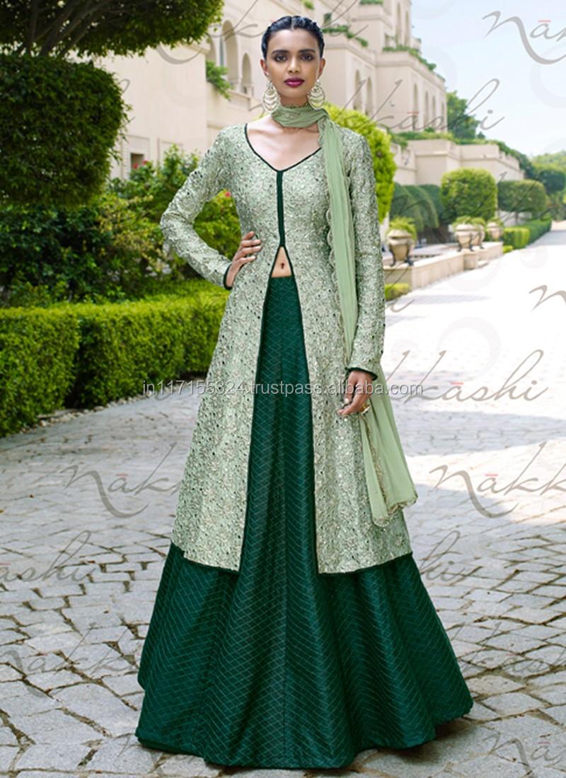 0b0e01e2cf1c0 Anarkali şemsiyesi kurban kameraez frocks - Hintli kadın giyim - Bhagalpuri  nakış iş düğün anarkali lehenga