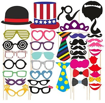 40pcs/Set Photo Booth Wedding Props Mustache Mask Props Party Queen Decoration