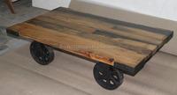 Wood Base Cast Iron Wheel Cart Coffee Table