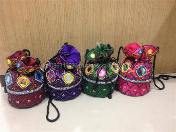 Wedding Favor Jewelry Ng Satin Mirrorwork Small Potli Evening Bag Gift Pouches Pouch