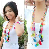 long seeds beading necklaces multiple tassels pendant bali