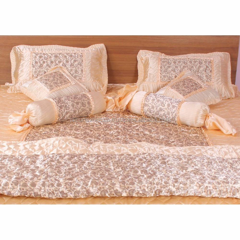 Padat Beige Satin Sprei Sarung Bantal Set King Size 8 Pcs Bedding