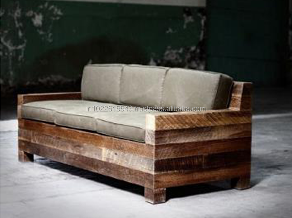 Industrial design reclaimed wood 3 seater sofa buy for 9 seater sofa set designs