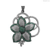 Pave Emerald Diamond Fabulous, Gemstone Lotus Flower Silver Pendant
