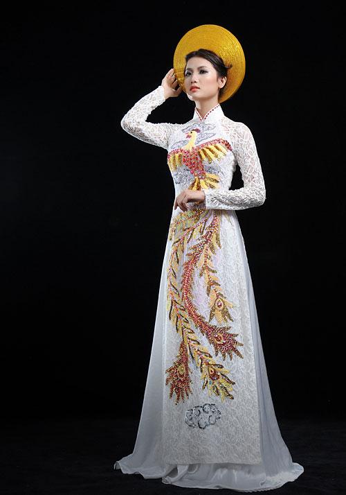 Buy Ao Dai Viet Nam Online 3D Chiffon Printed