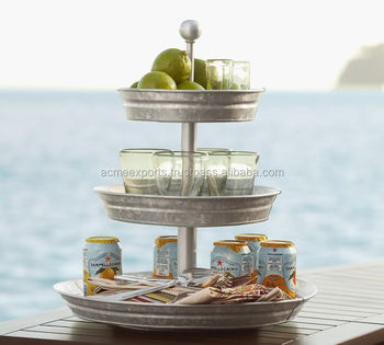 Galvanized Metal Food Tray 3 tier Fruit stand | Galvanized Metal Tirede Stand