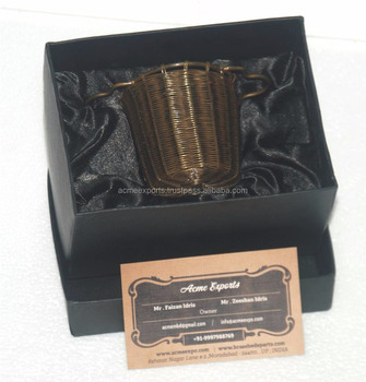 Brass Antique Finish Tea Strainer with Black Gift Box