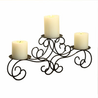 Decorative Tabletop Metal Wire Candle Holder Holds 3 Pillar Candles