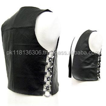 1a1c18bcf6 MENS Black LEATHER WAISTCOAT MOTORBIKE / MOTORCYCLE/ Biker Vest VARIOUS  SIZES, Motorbike Leather Vest