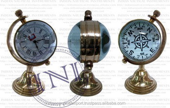 Decorative Table Clock, Standing Table Clock With Compass, Shiny Brass Table  Clock