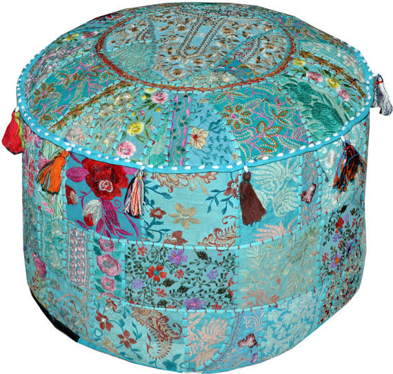 bohemian indian pouf ottoman patchwork pouf cocktail. Black Bedroom Furniture Sets. Home Design Ideas
