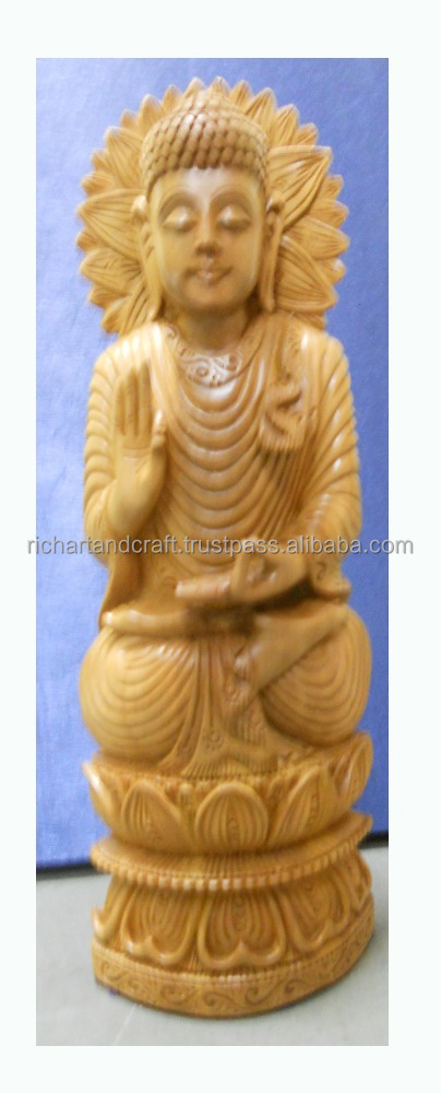 God Buddha Statue wooden Handicraft artisan Buddhism Sculptural decor India Gift Japan Carving Handmade China