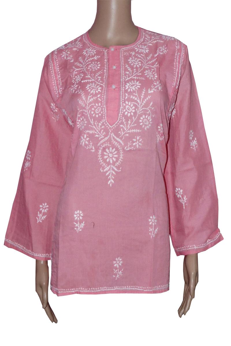 Designer hand embroidered chikan ladies kurtis buy