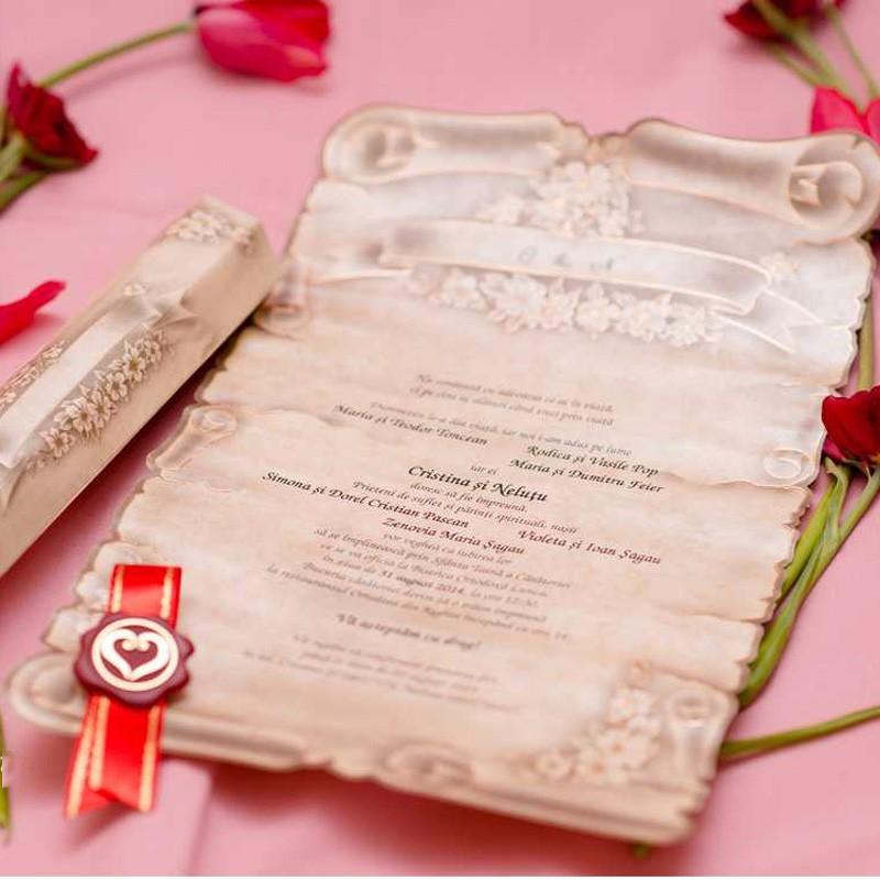 Scroll Wedding Invitation Card Medieval Style Unique Invitations ...