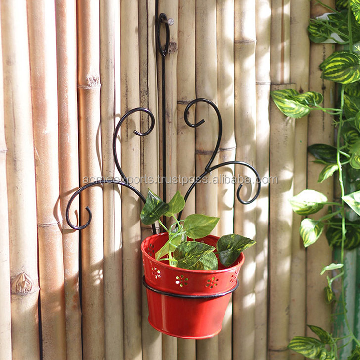 Wrought Iron Wall Flower Pots Metal Planters Hanging Planter Rustic Outdoor