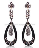 Black Onyx Pave Diamond Dangling Drop Earring 14k Yellow Gold Earring Tekewala Jewelry