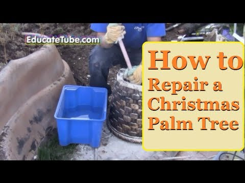 How to repair an outdoor Christmas Palm Tree - Plastic Palm Tree -