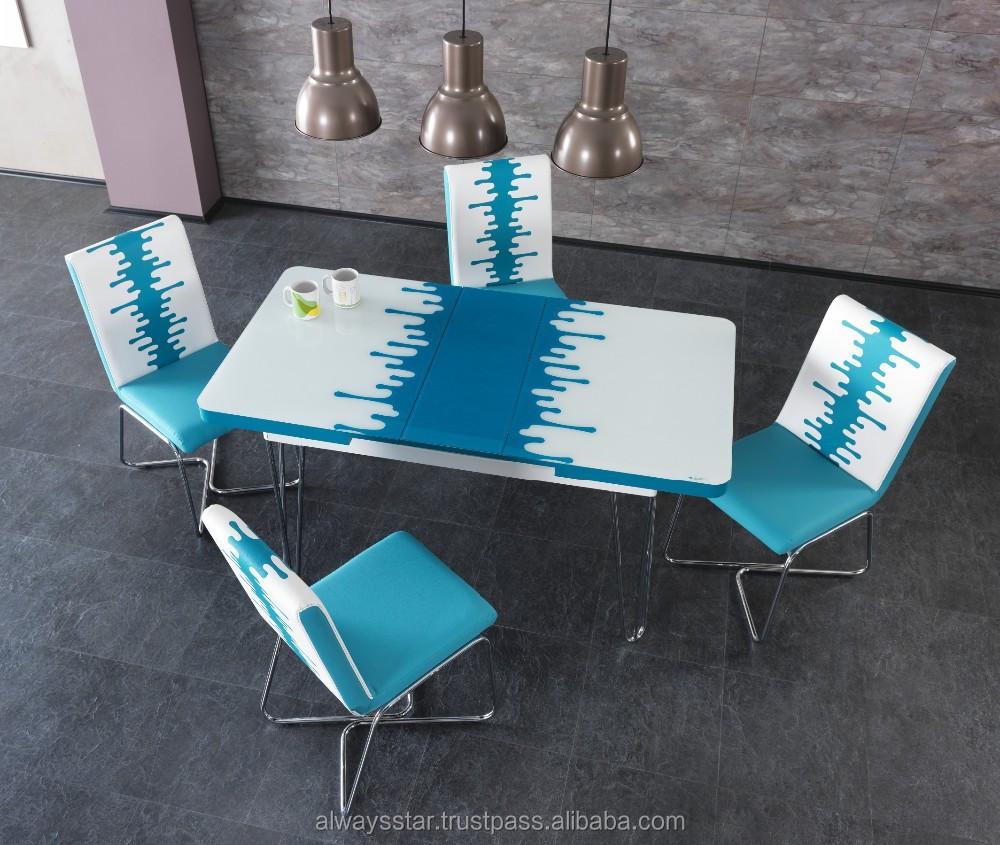 Risparmio di spazio vetro temperato Bianco moderno tavolo da ...