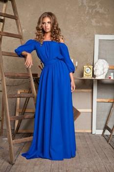 7c3fcf44ee Royal Blue Crepe Long Maxi Dress - Buy Off Shoulder Maxi Dress For ...